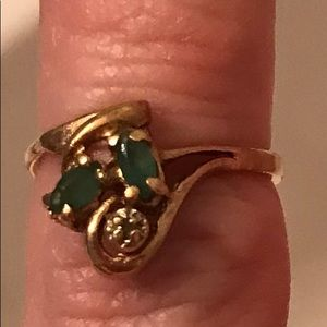 Genuine Natural Emerald and Diamond Ring